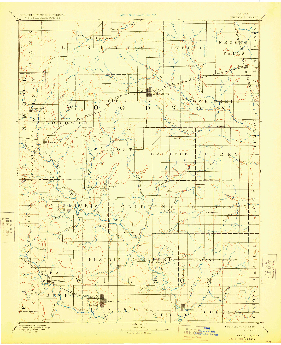 USGS 1:125000-SCALE QUADRANGLE FOR FREDONIA, KS 1894