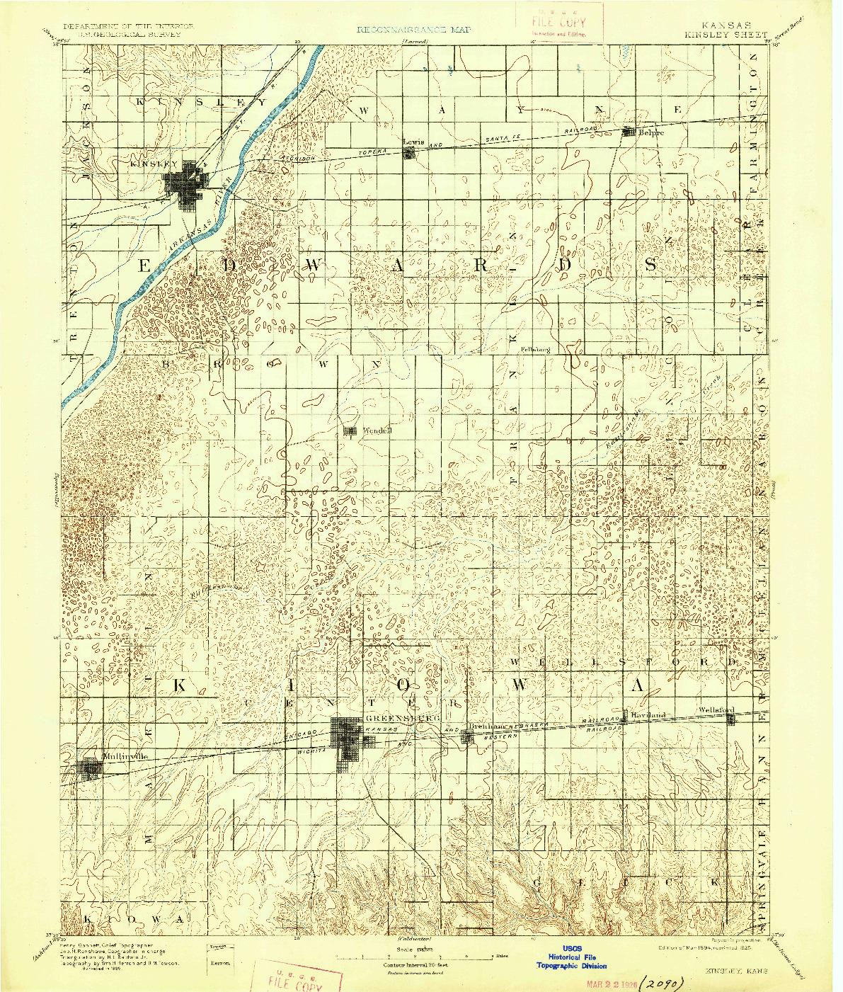 USGS 1:125000-SCALE QUADRANGLE FOR KINSLEY, KS 1894