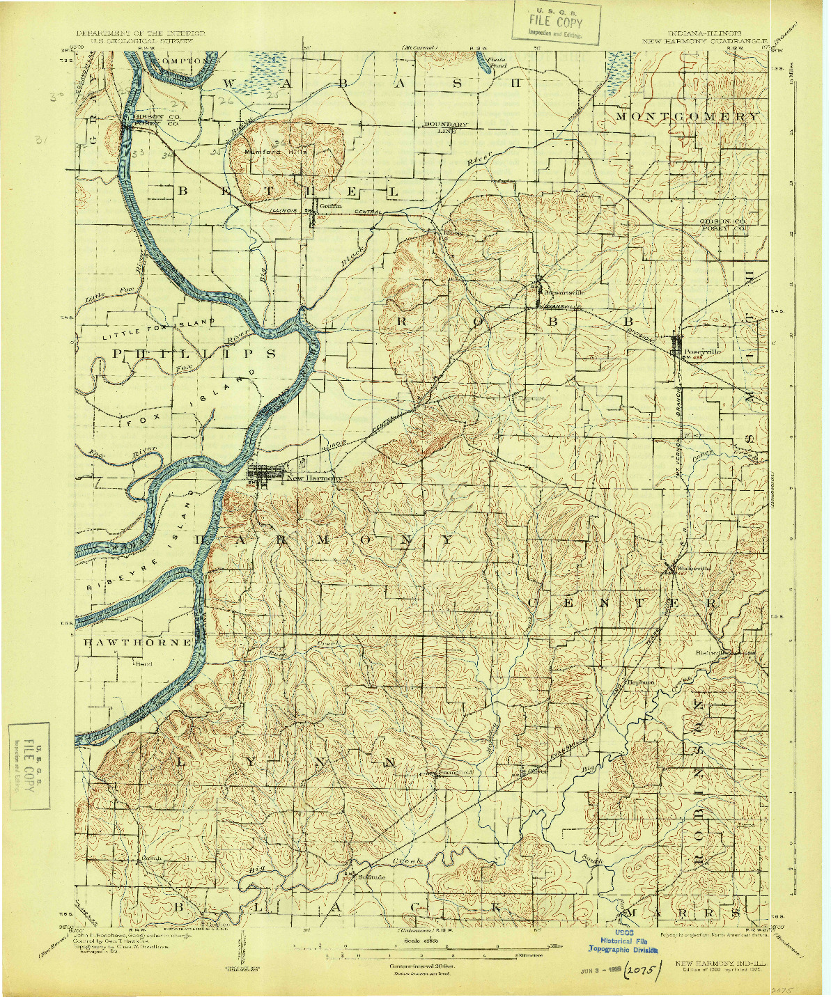 USGS 1:62500-SCALE QUADRANGLE FOR NEW HARMONY, IN 1903