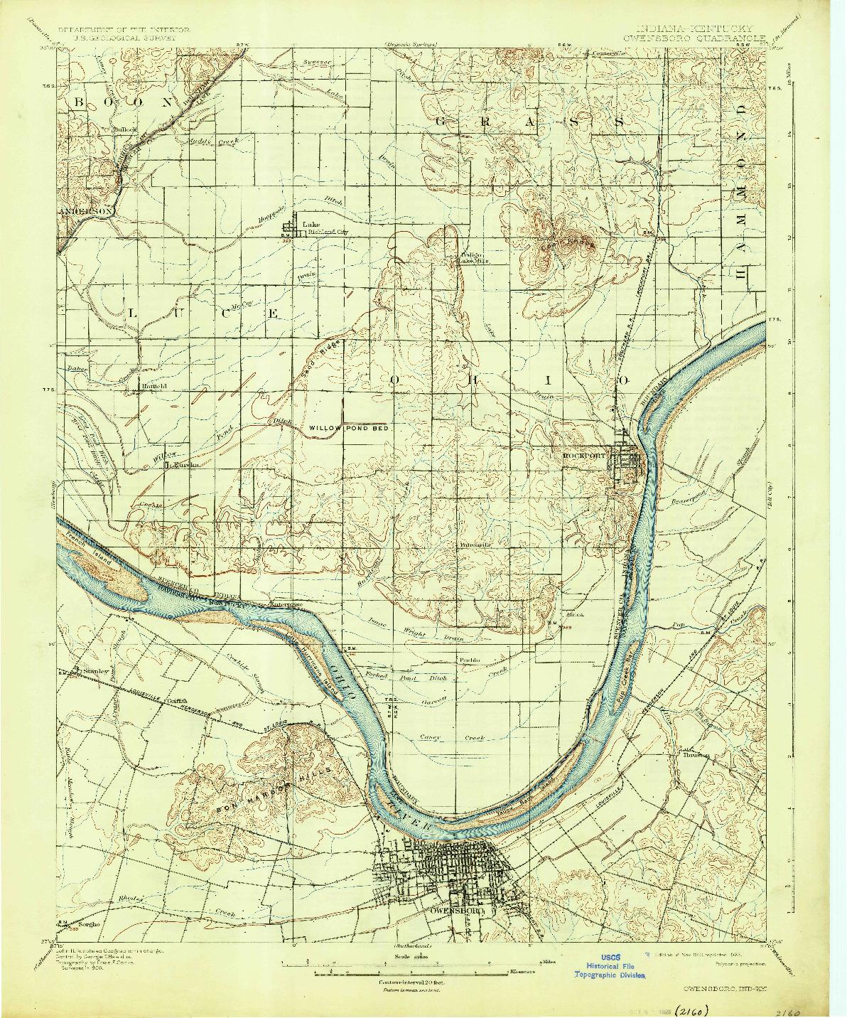 USGS 1:62500-SCALE QUADRANGLE FOR OWENSBORO, IN 1901