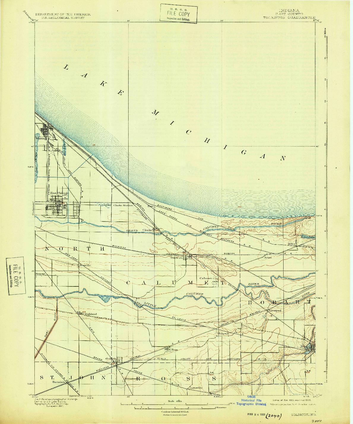 USGS 1:62500-SCALE QUADRANGLE FOR TOLESTON, IN 1900