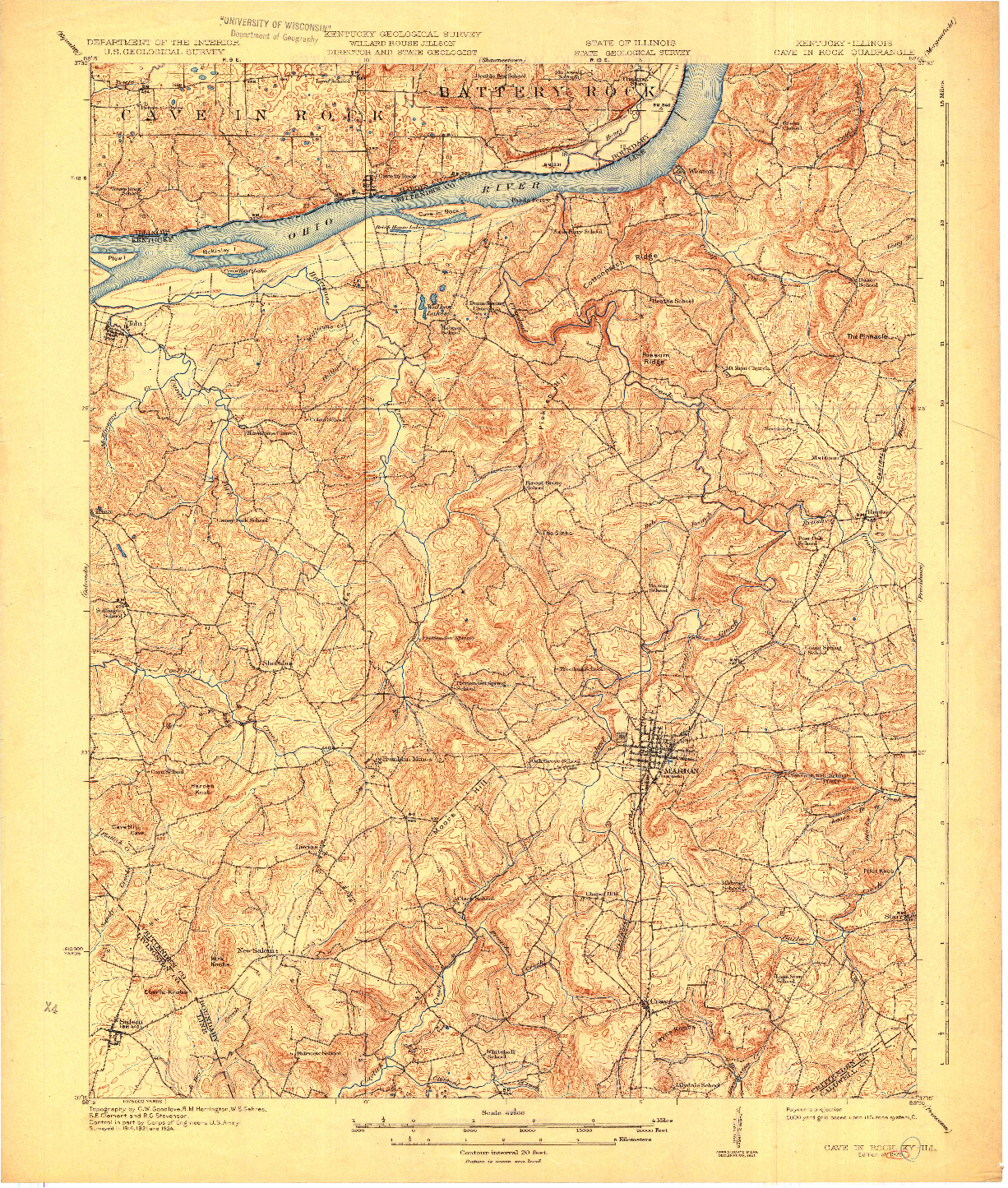 USGS 1:62500-SCALE QUADRANGLE FOR CAVE IN ROCK, KY 1925