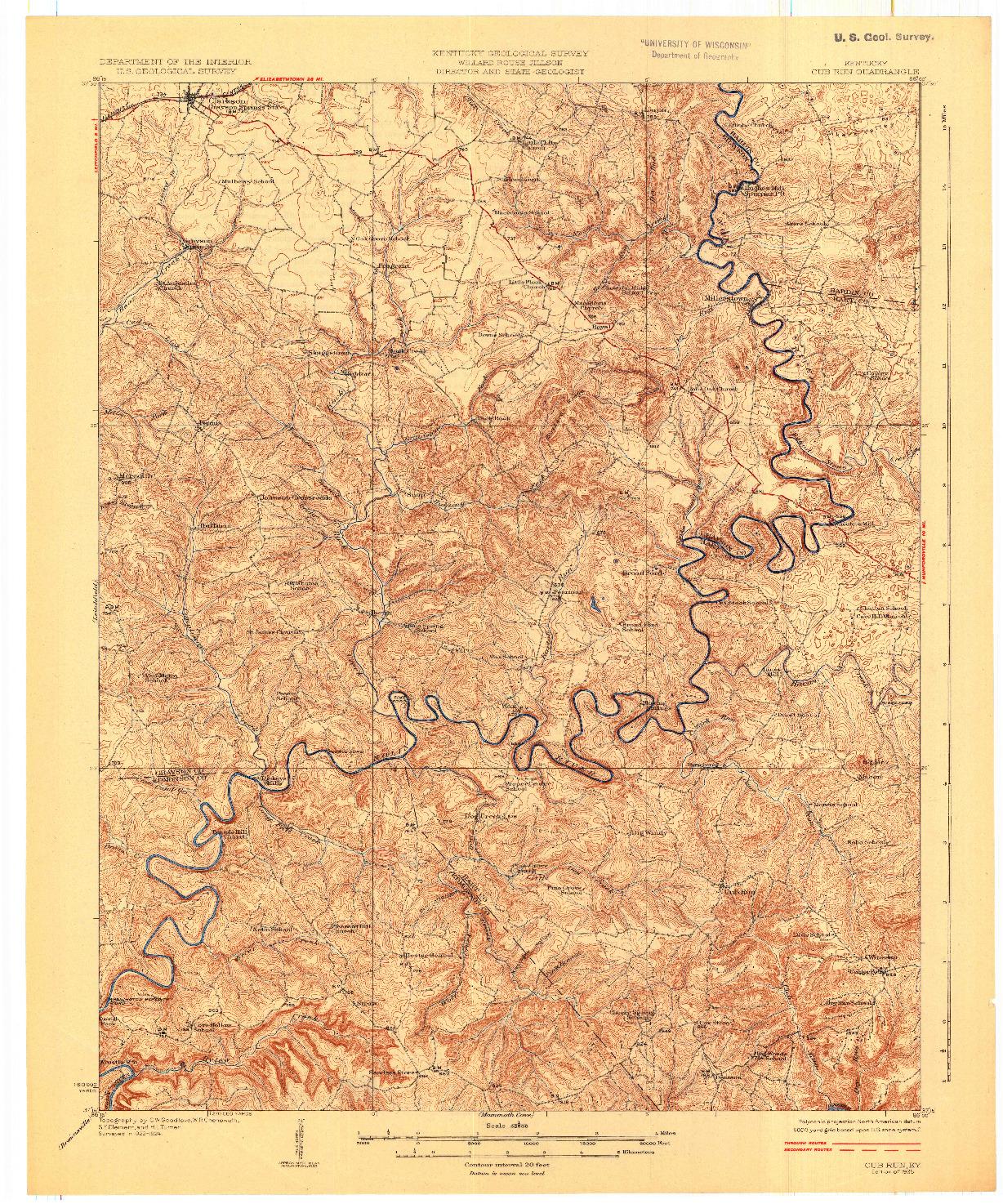 USGS 1:62500-SCALE QUADRANGLE FOR CUB RUN, KY 1925