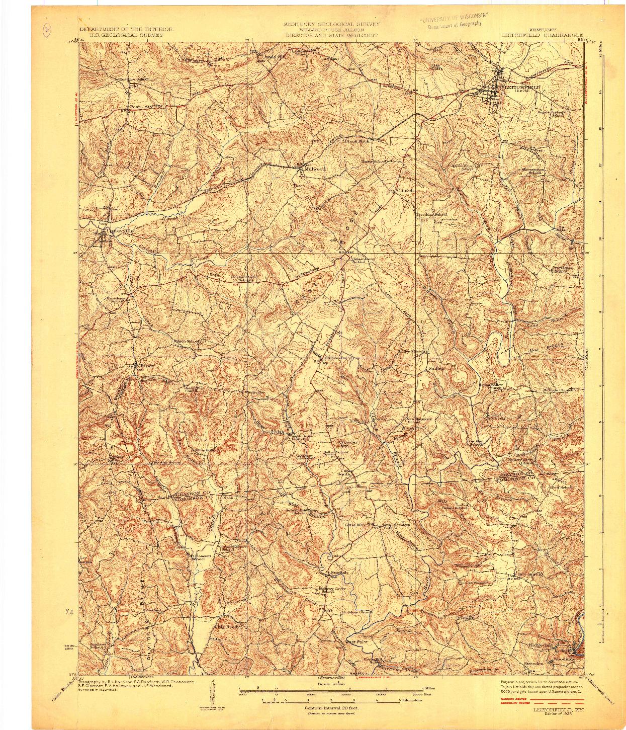 USGS 1:62500-SCALE QUADRANGLE FOR LEITCHFIELD, KY 1925