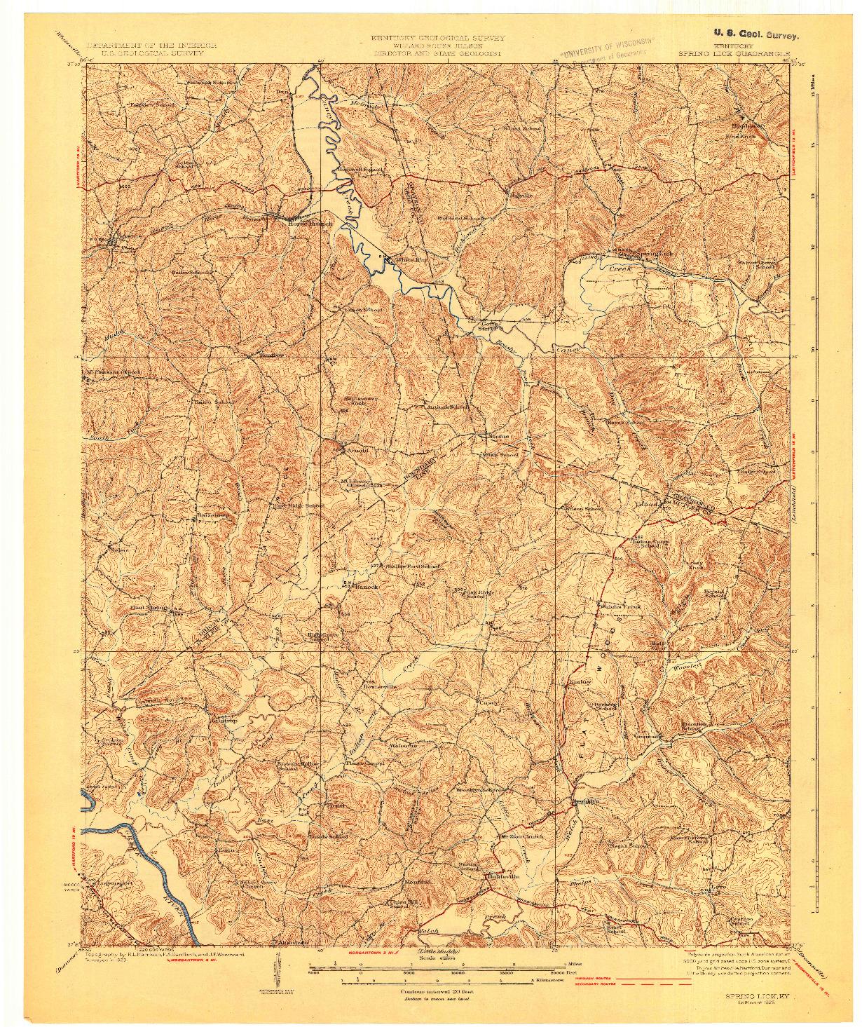 USGS 1:62500-SCALE QUADRANGLE FOR SPRING LICK, KY 1925