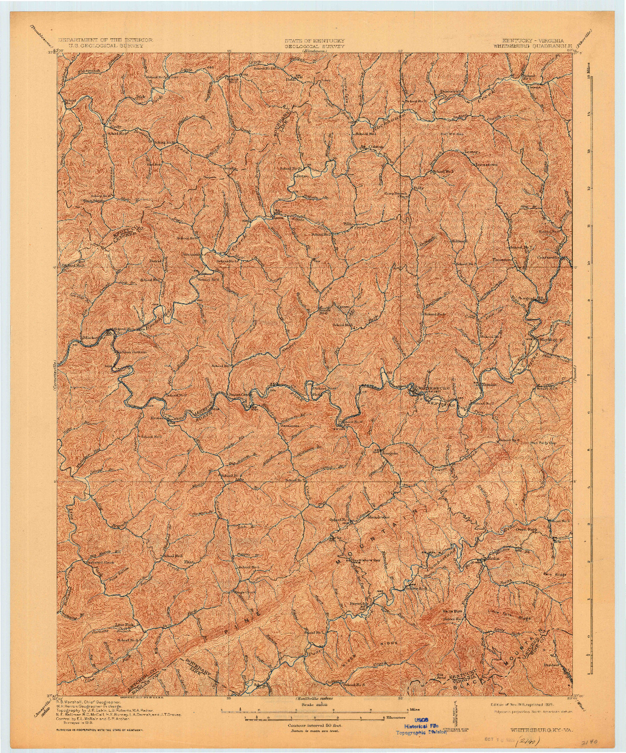 USGS 1:62500-SCALE QUADRANGLE FOR WHITESBURG, KY 1915