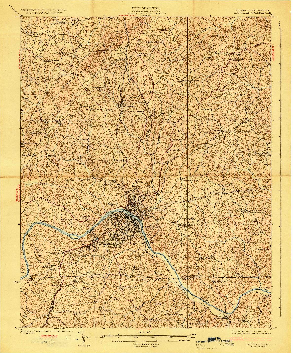 USGS 1:62500-SCALE QUADRANGLE FOR DANVILLE, VA 1925
