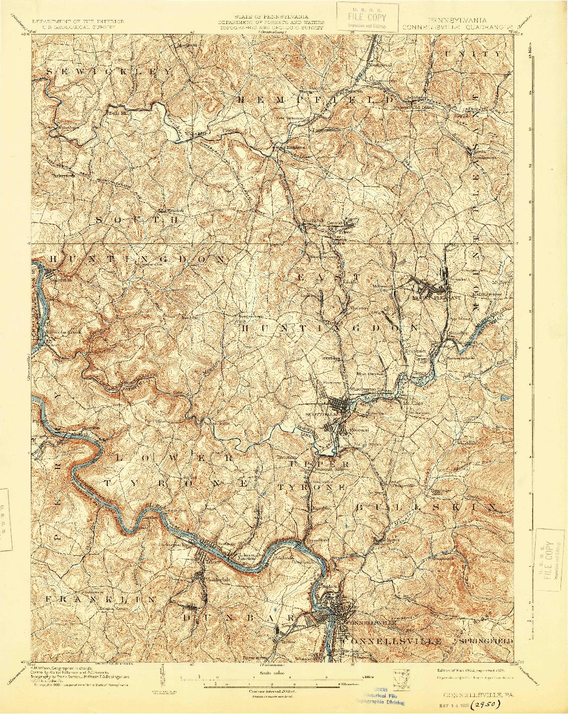 USGS 1:62500-SCALE QUADRANGLE FOR CONNELLSVILLE, PA 1902