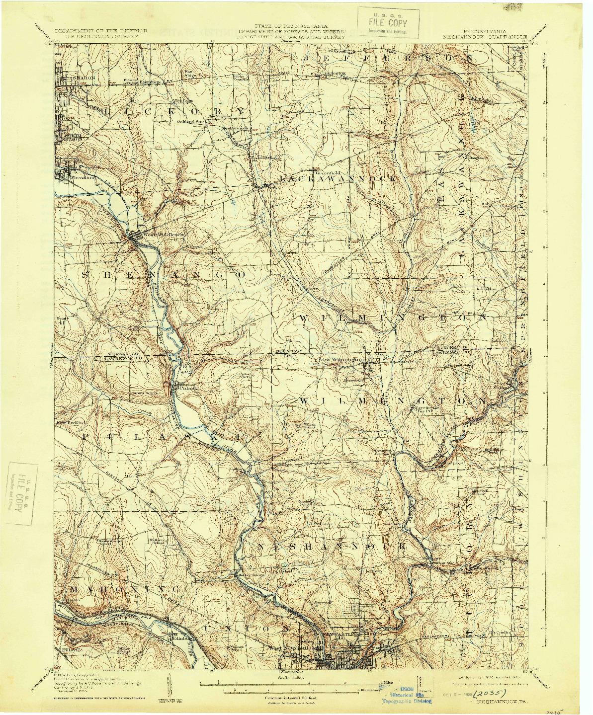 USGS 1:62500-SCALE QUADRANGLE FOR NESHANNOCK, PA 1907
