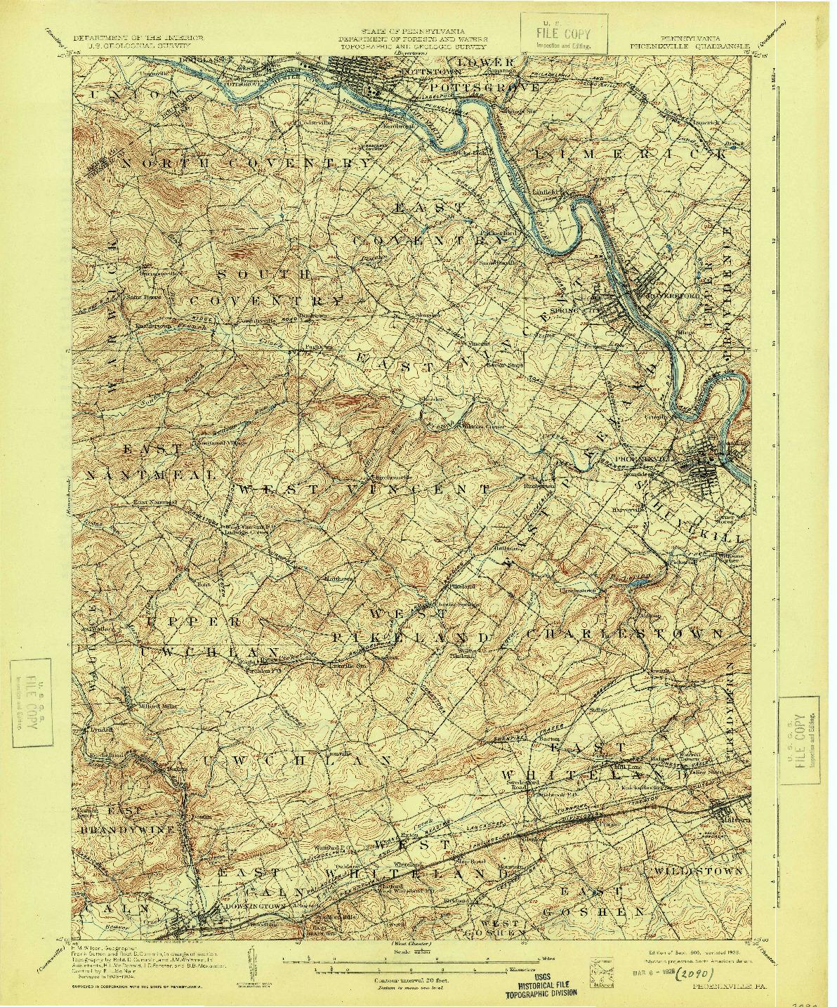 USGS 1:62500-SCALE QUADRANGLE FOR PHOENIXVILLE, PA 1906