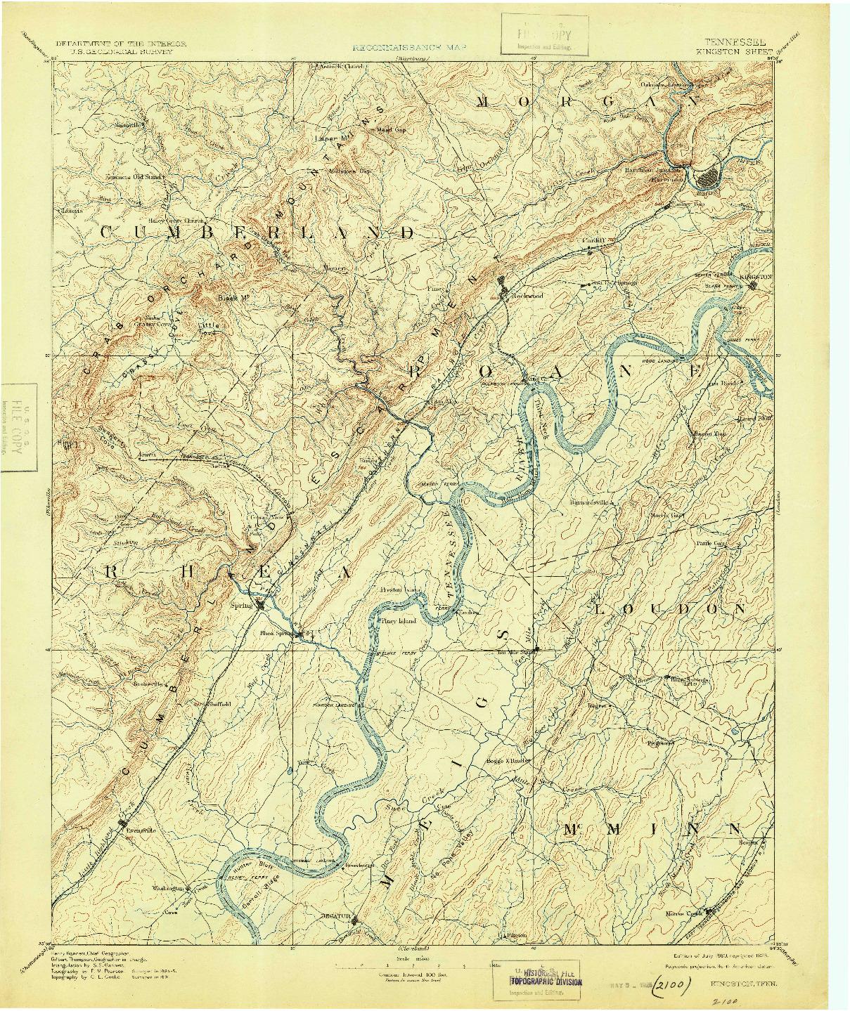 USGS 1:125000-SCALE QUADRANGLE FOR KINGSTON, TN 1893