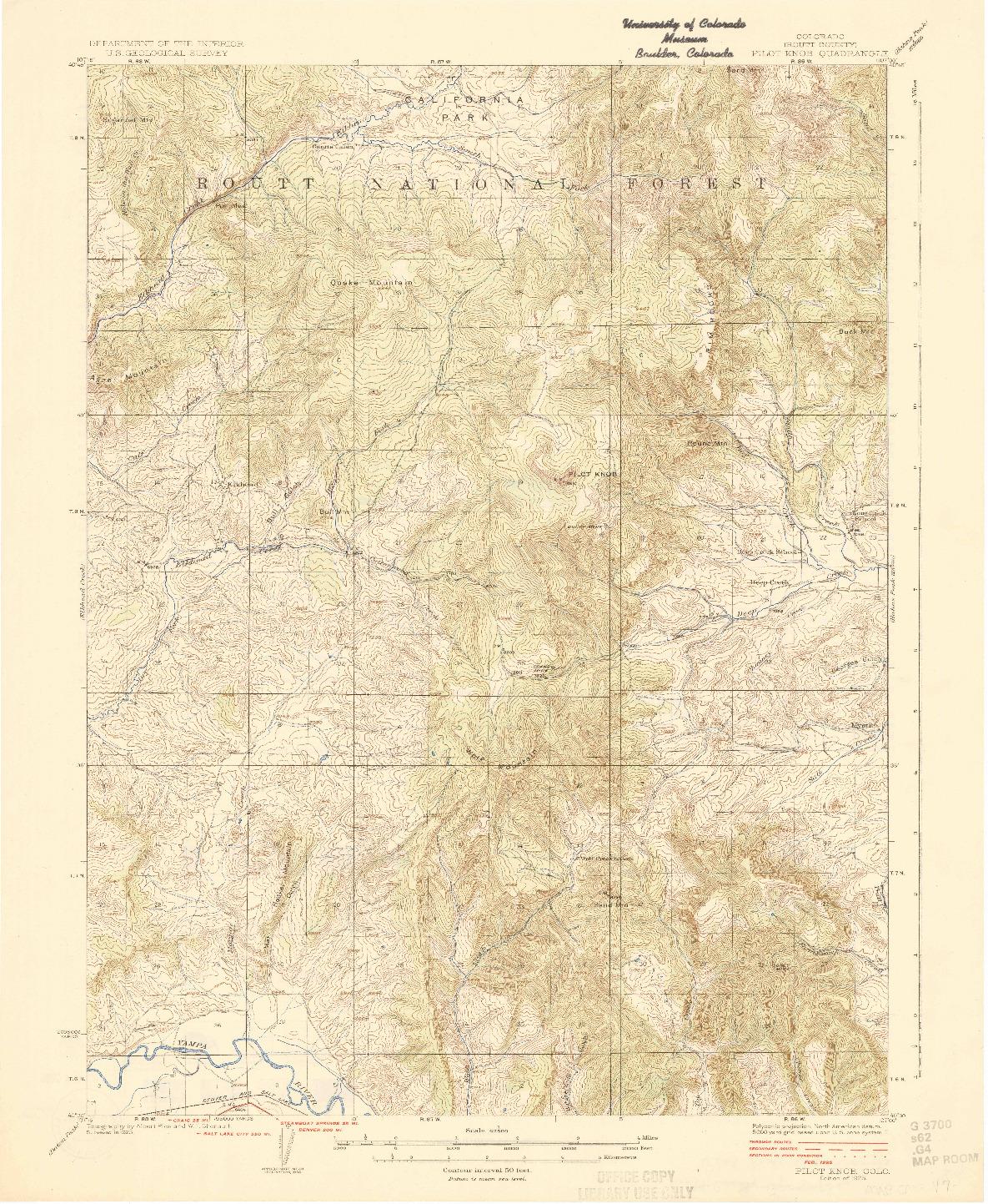 USGS 1:62500-SCALE QUADRANGLE FOR PILOT KNOB, CO 1925