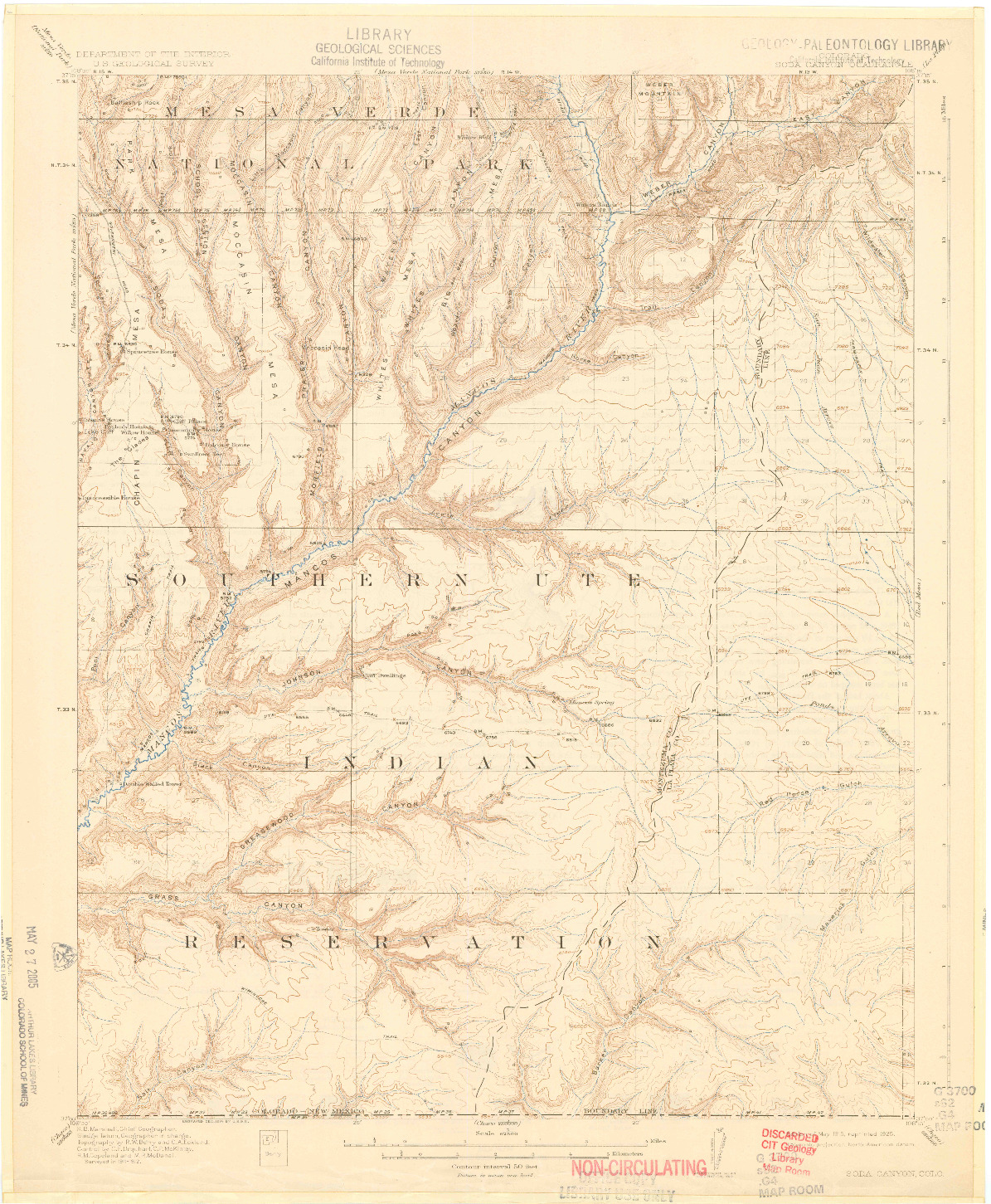 USGS 1:62500-SCALE QUADRANGLE FOR SODA CANYON, CO 1915