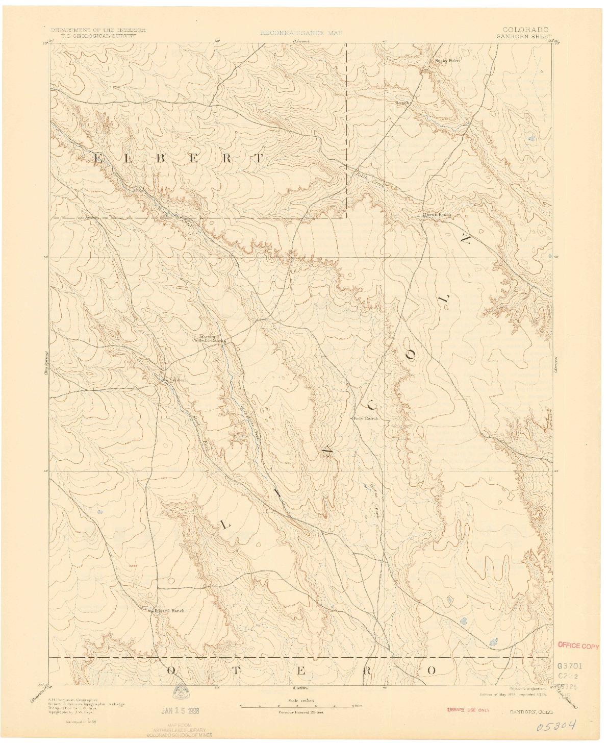 USGS 1:125000-SCALE QUADRANGLE FOR SANBORN, CO 1893