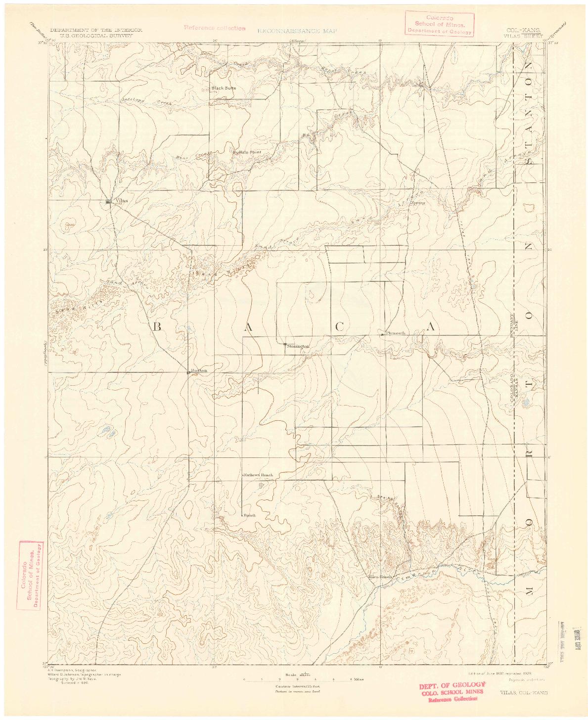 USGS 1:125000-SCALE QUADRANGLE FOR VILAS, CO 1892