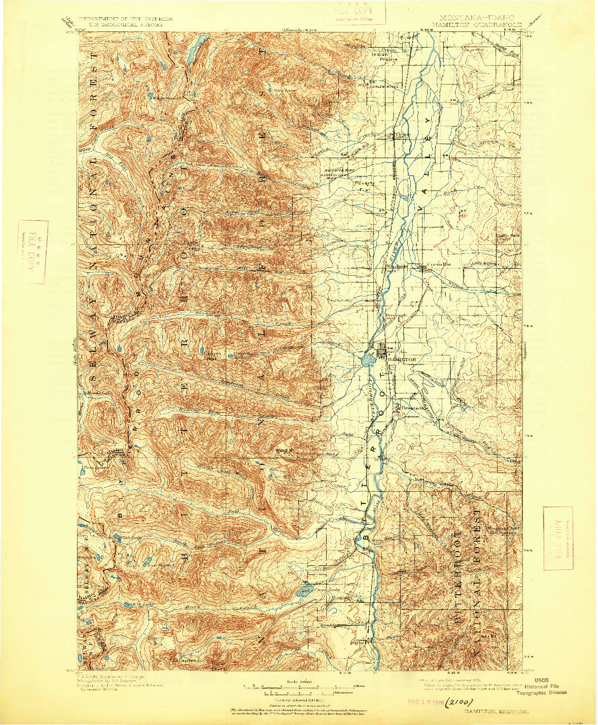 USGS 1:125000-SCALE QUADRANGLE FOR HAMILTON, MT 1901