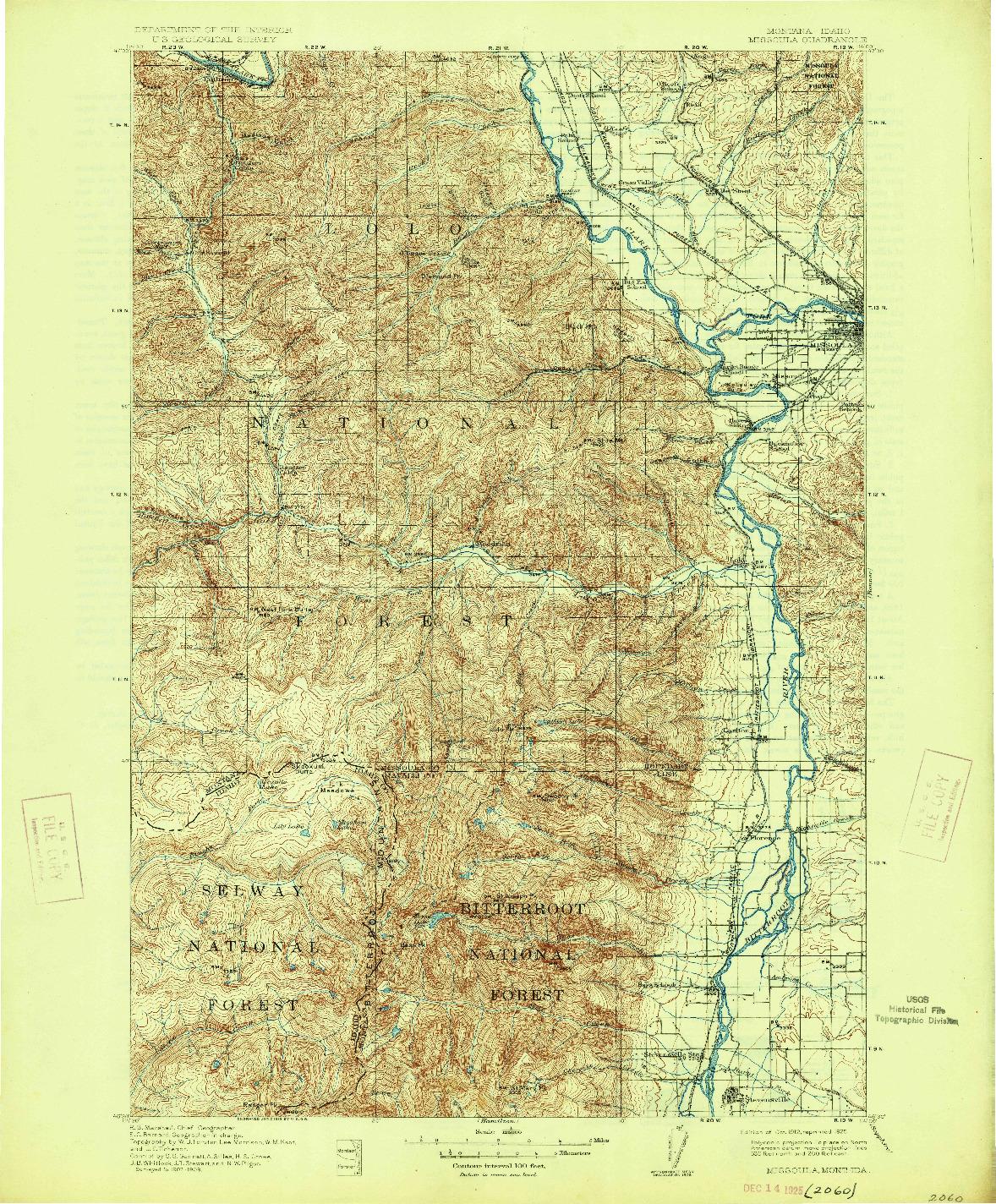 USGS 1:125000-SCALE QUADRANGLE FOR MISSOULA, MT 1912