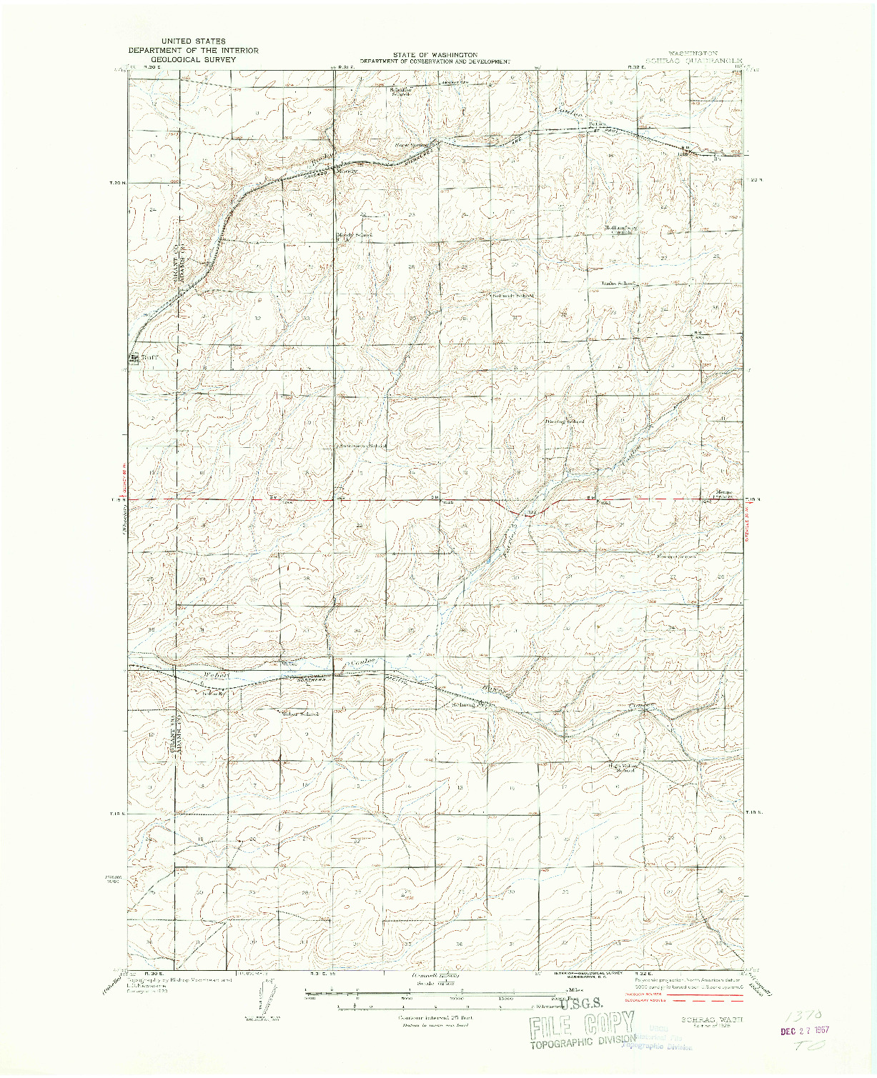 USGS 1:62500-SCALE QUADRANGLE FOR SCHRAG, WA 1925