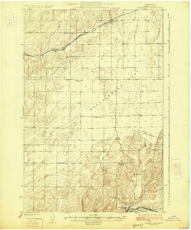 USGS 1:62500-SCALE QUADRANGLE FOR WASHTUCNA, WA 1925
