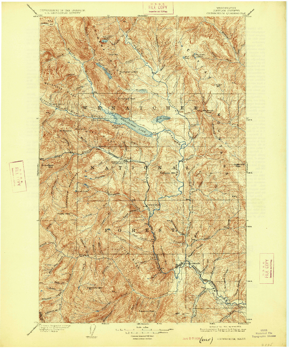 USGS 1:125000-SCALE QUADRANGLE FOR CHIWAUKUM, WA 1904