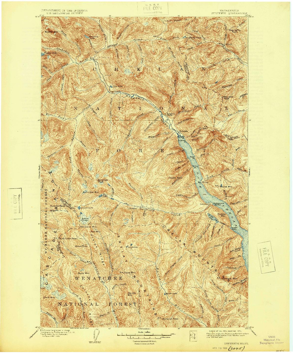 USGS 1:125000-SCALE QUADRANGLE FOR STEHEKIN, WA 1904