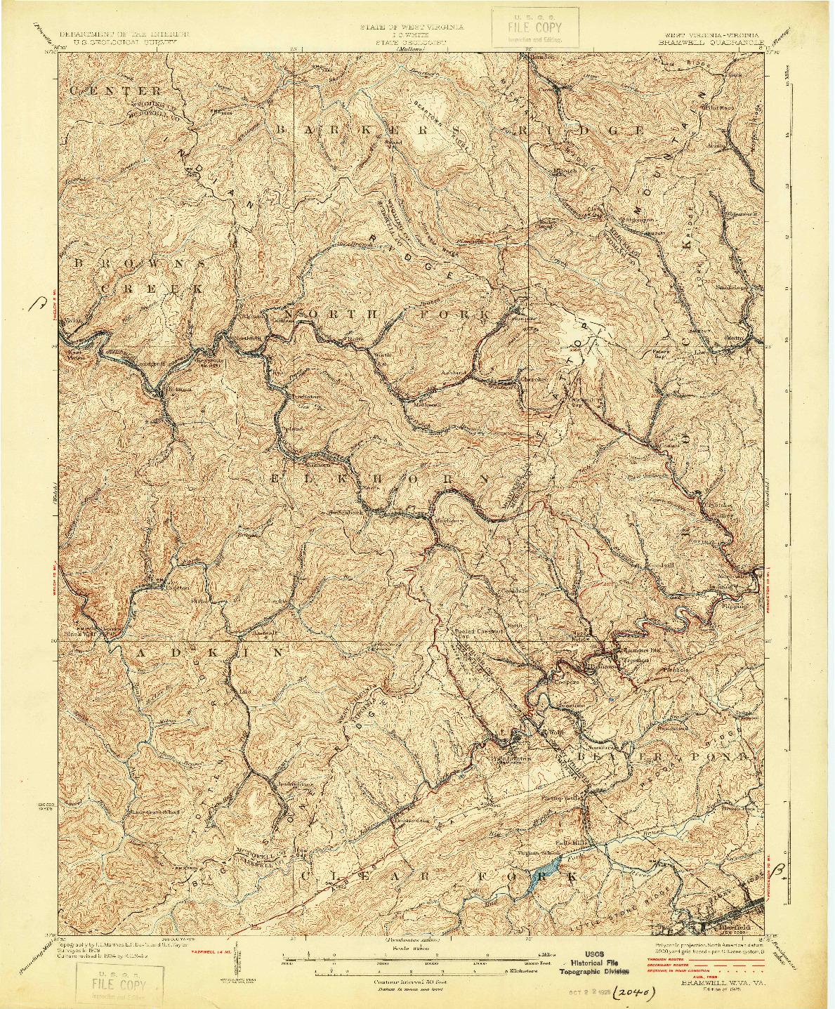 USGS 1:62500-SCALE QUADRANGLE FOR BRAMWELL, WV 1925