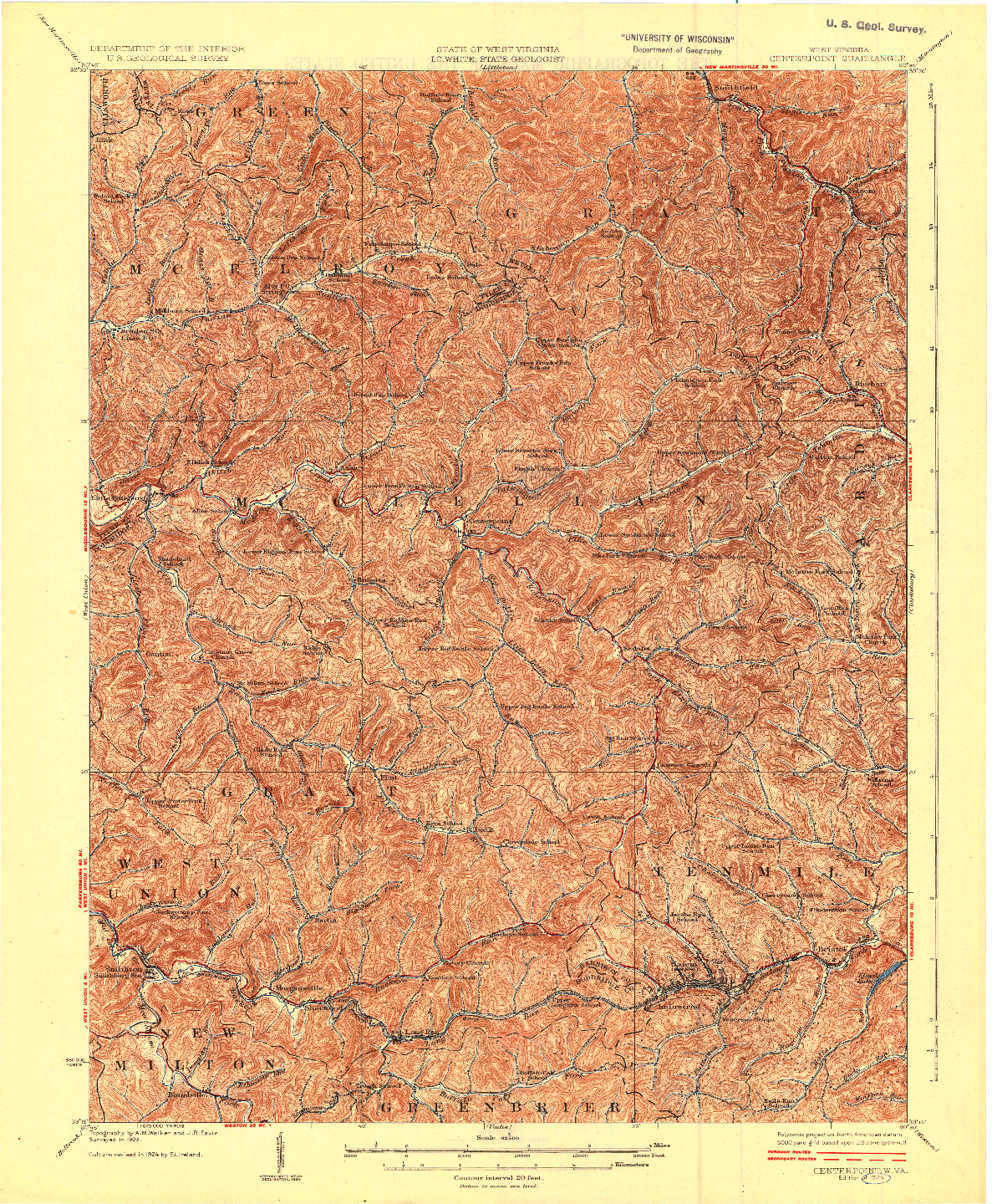 USGS 1:62500-SCALE QUADRANGLE FOR CENTERPOINT, WV 1925