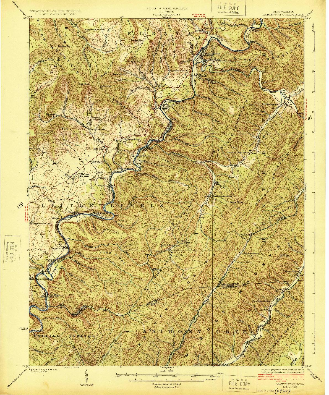 USGS 1:62500-SCALE QUADRANGLE FOR MARLINTON, WV 1925