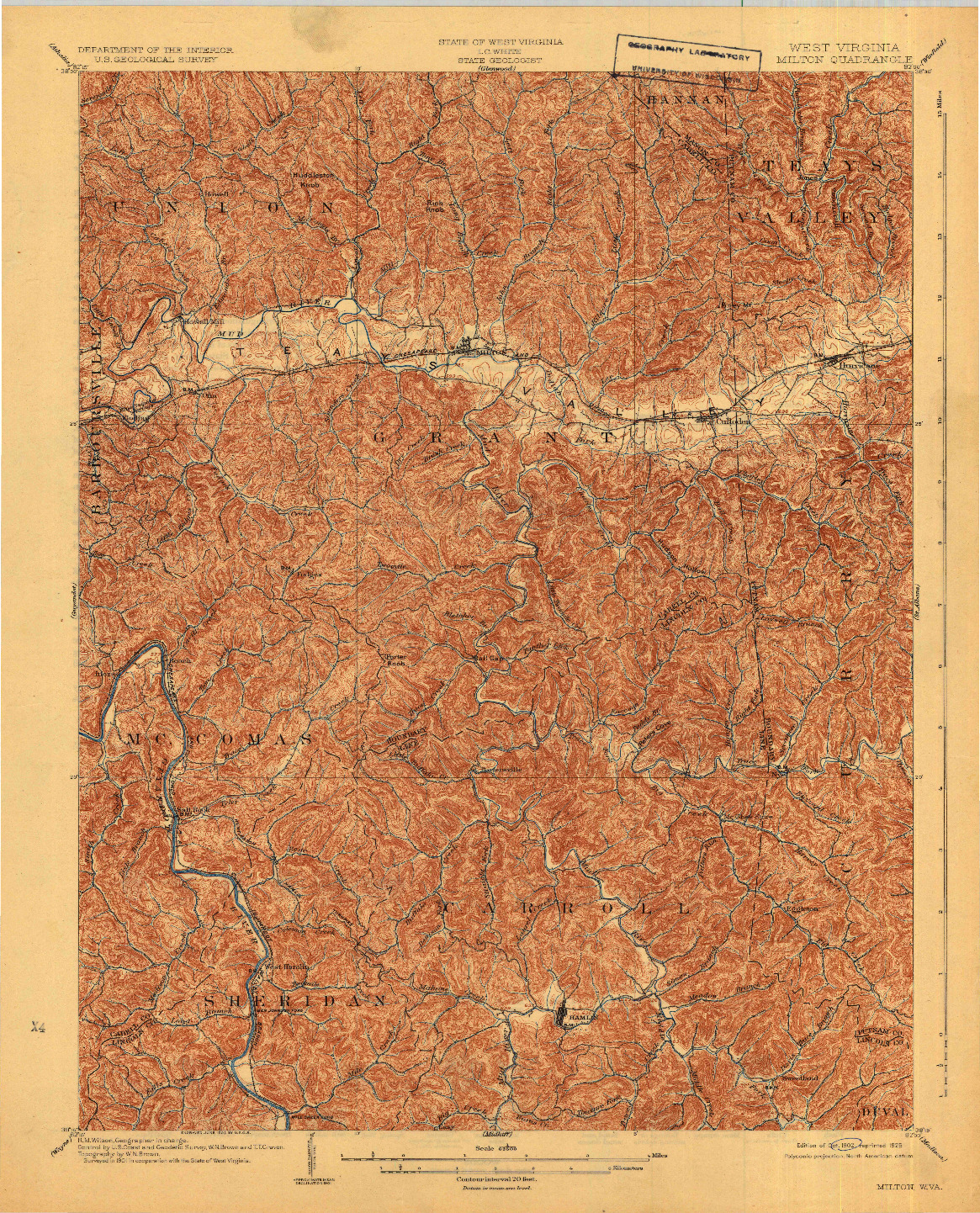 USGS 1:62500-SCALE QUADRANGLE FOR MILTON, WV 1902