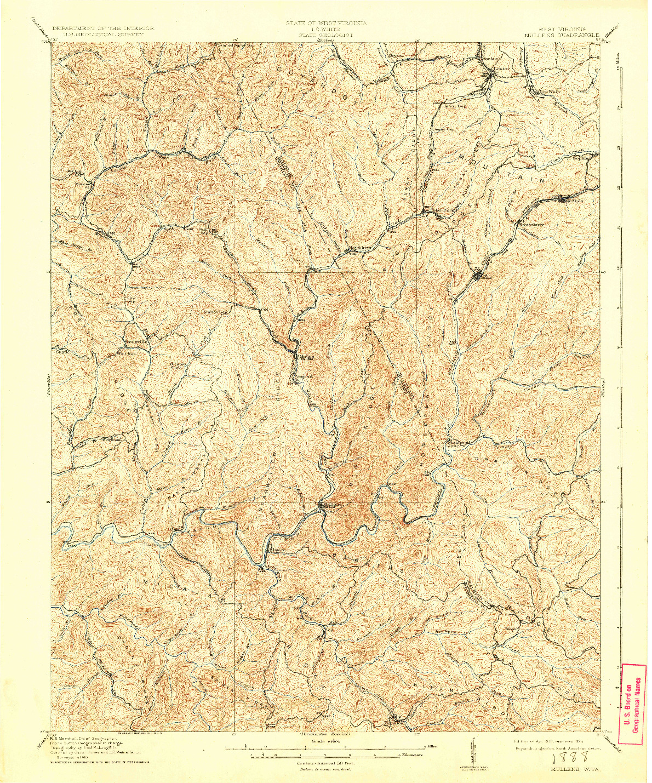 USGS 1:62500-SCALE QUADRANGLE FOR MULLENS, WV 1912