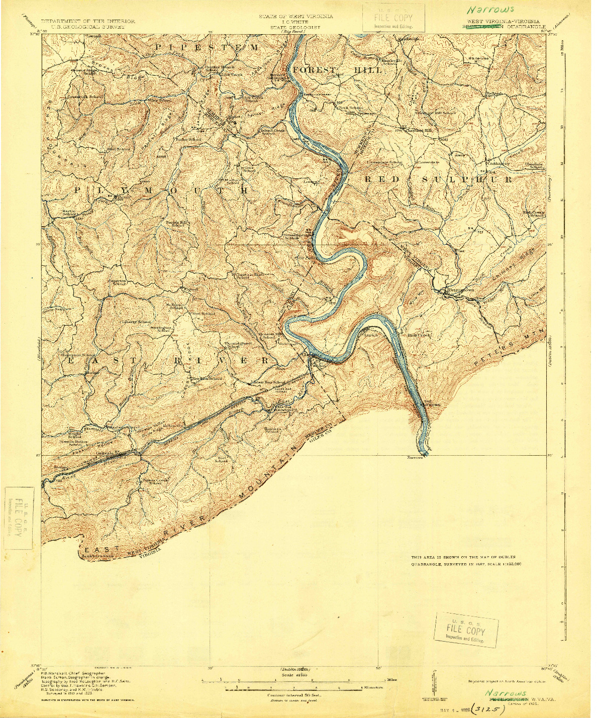 USGS 1:62500-SCALE QUADRANGLE FOR PETERSTOWN, WV 1925