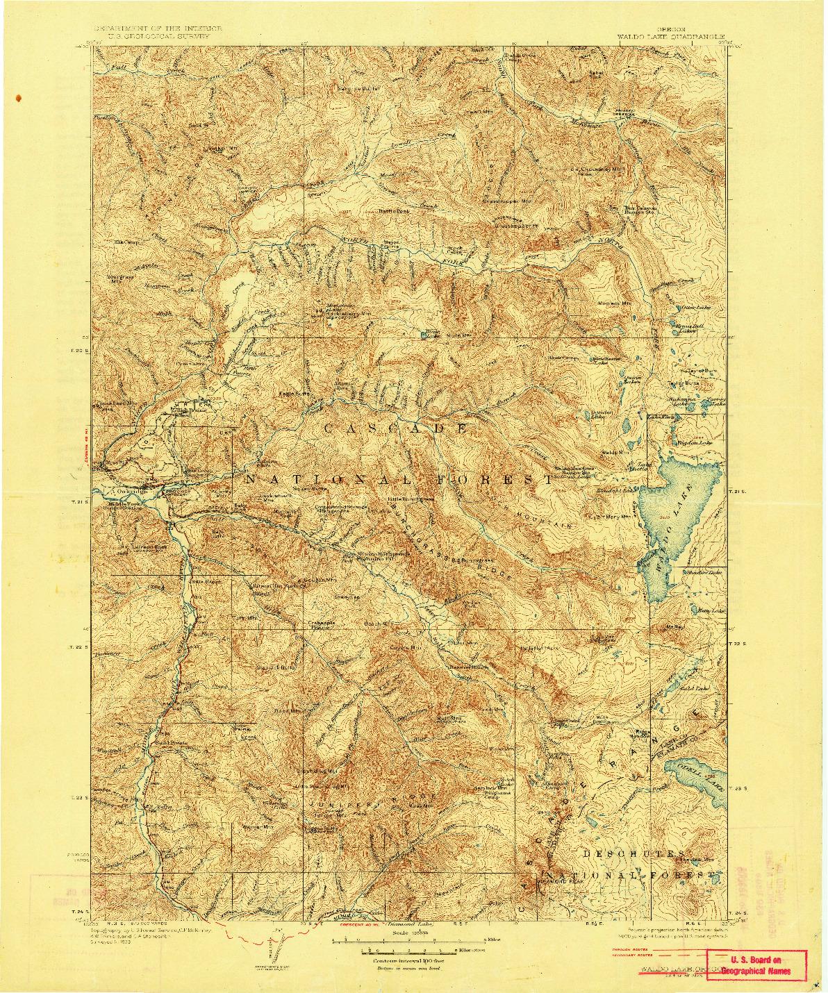 USGS 1:125000-SCALE QUADRANGLE FOR WALDO LAKE, OR 1925