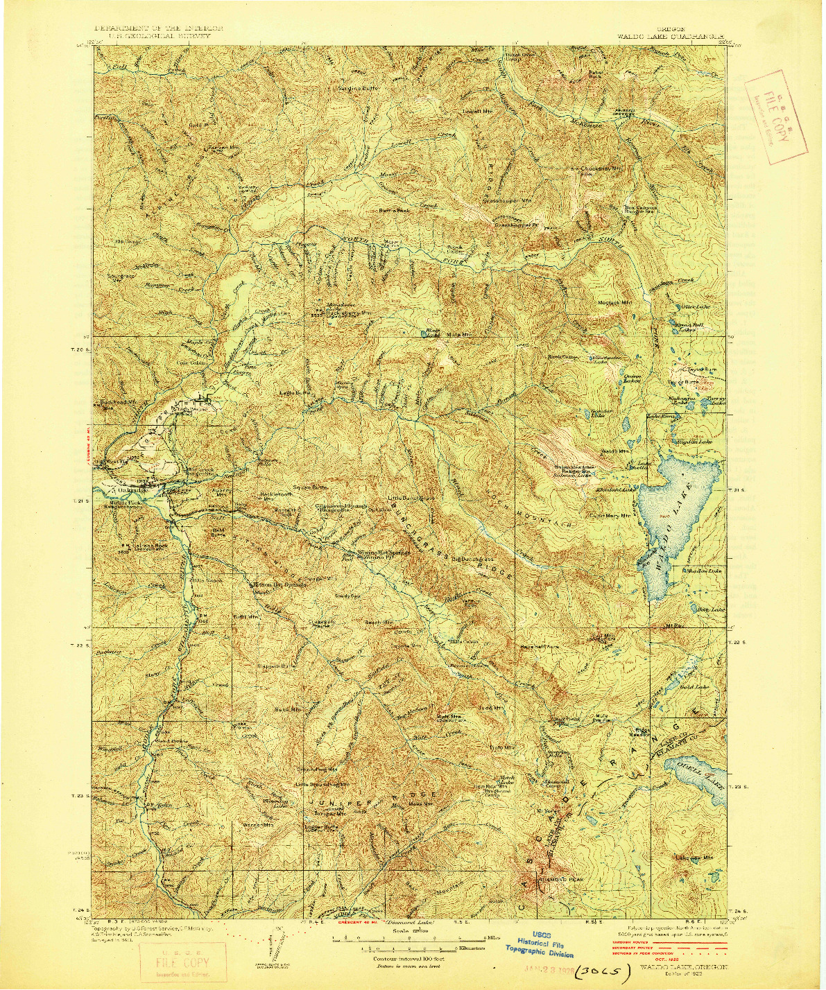 USGS 1:125000-SCALE QUADRANGLE FOR WALDO LAKE, OR 1925