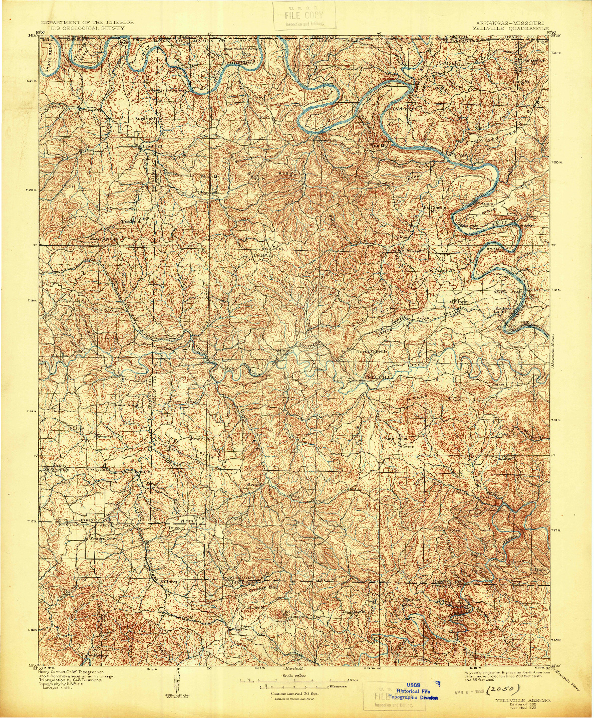 USGS 1:125000-SCALE QUADRANGLE FOR YELLVILLE, AR 1905