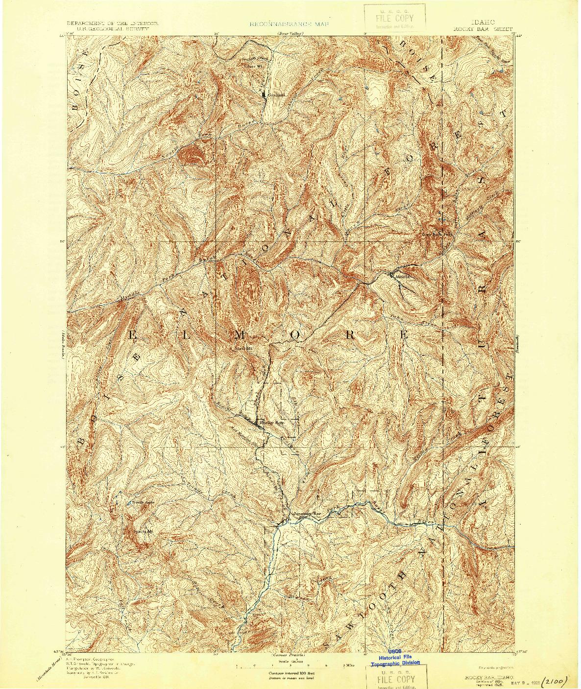 USGS 1:125000-SCALE QUADRANGLE FOR ROCKY BAR, ID 1894