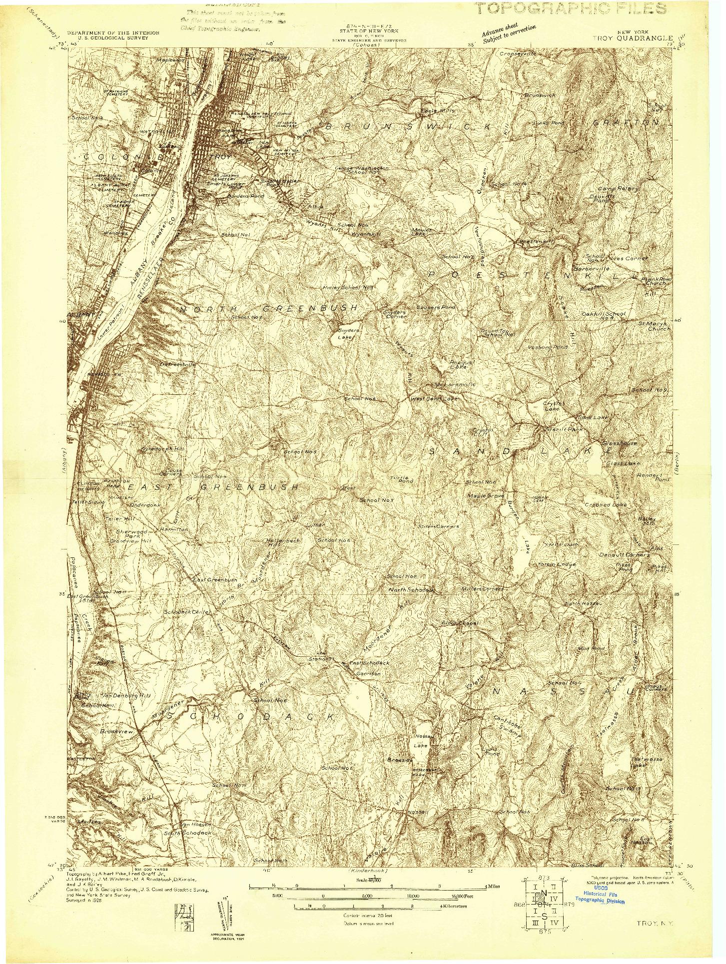 USGS 1:48000-SCALE QUADRANGLE FOR TROY, NY 1925