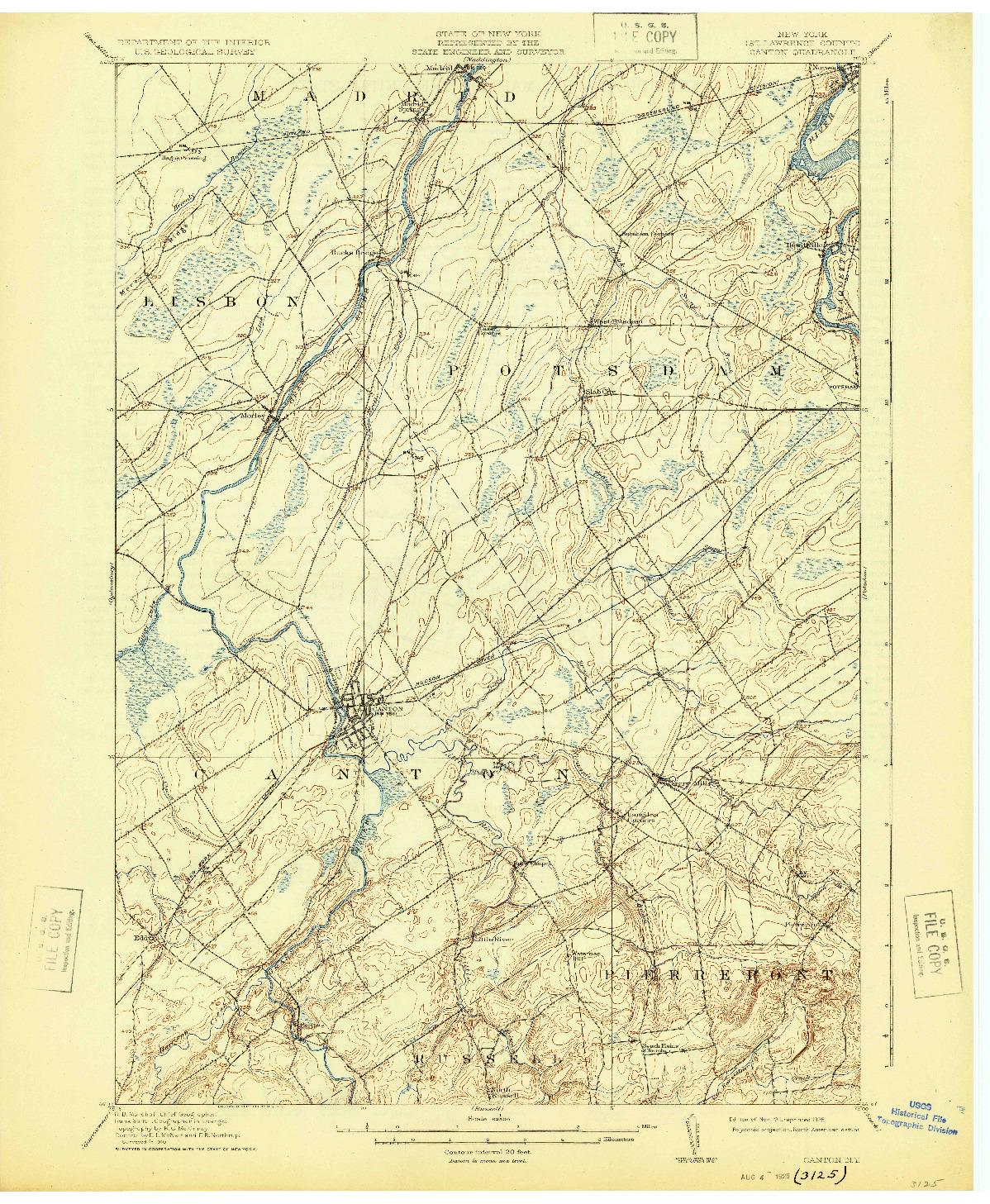 USGS 1:62500-SCALE QUADRANGLE FOR CANTON, NY 1911