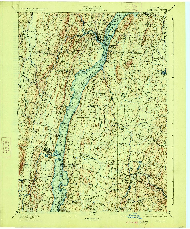 USGS 1:62500-SCALE QUADRANGLE FOR CATSKILL, NY 1895
