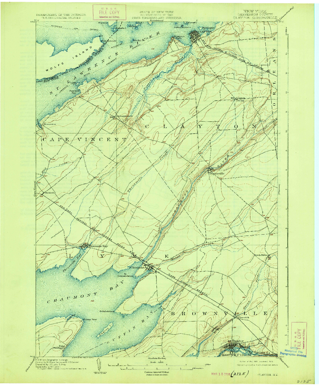 USGS 1:62500-SCALE QUADRANGLE FOR CLAYTON, NY 1903
