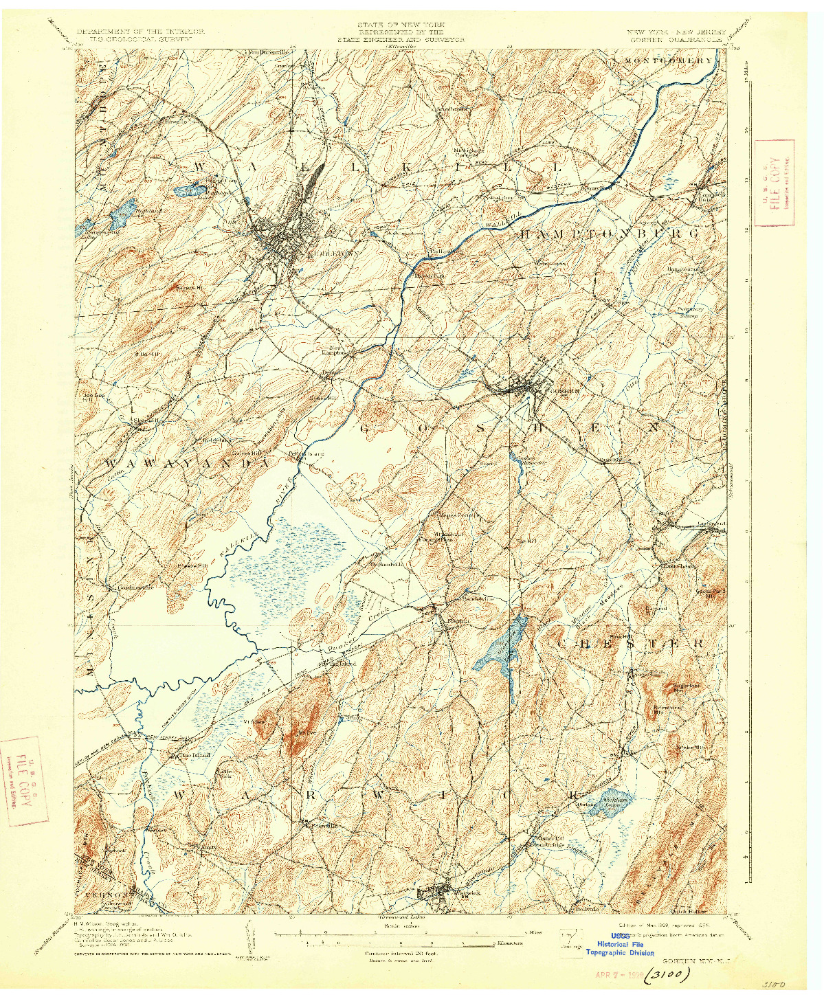 USGS 1:62500-SCALE QUADRANGLE FOR GOSHEN, NY 1908