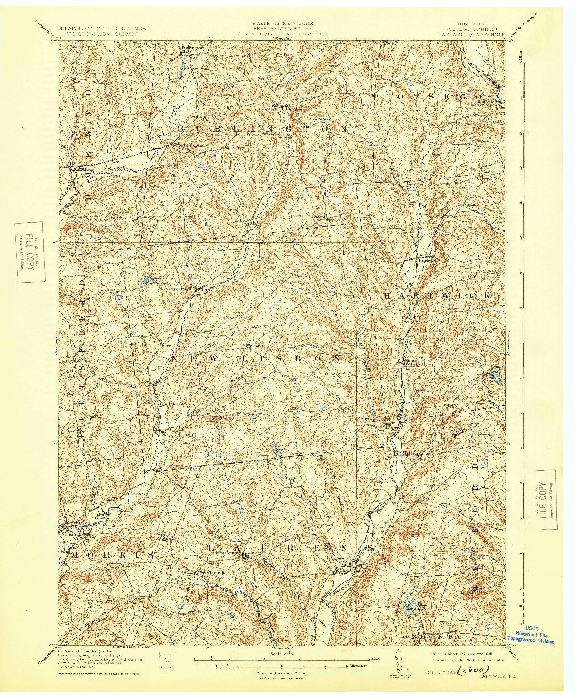 USGS 1:62500-SCALE QUADRANGLE FOR HARTWICK, NY 1912