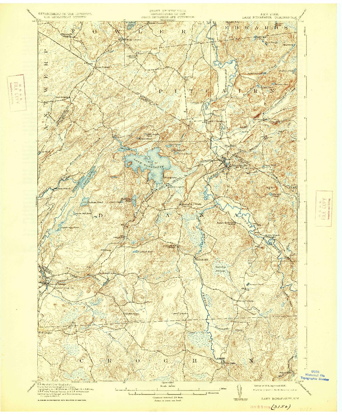 USGS 1:62500-SCALE QUADRANGLE FOR LAKE BONAPARTE, NY 1916