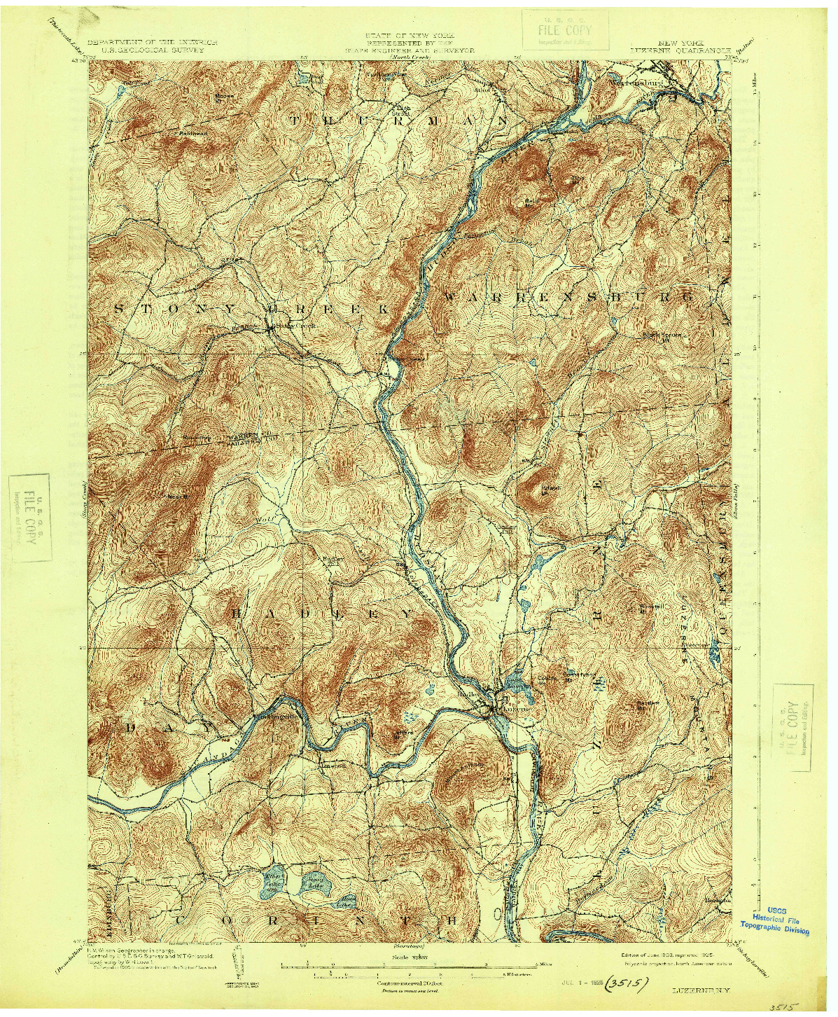 USGS 1:62500-SCALE QUADRANGLE FOR LUZERNE, NY 1903