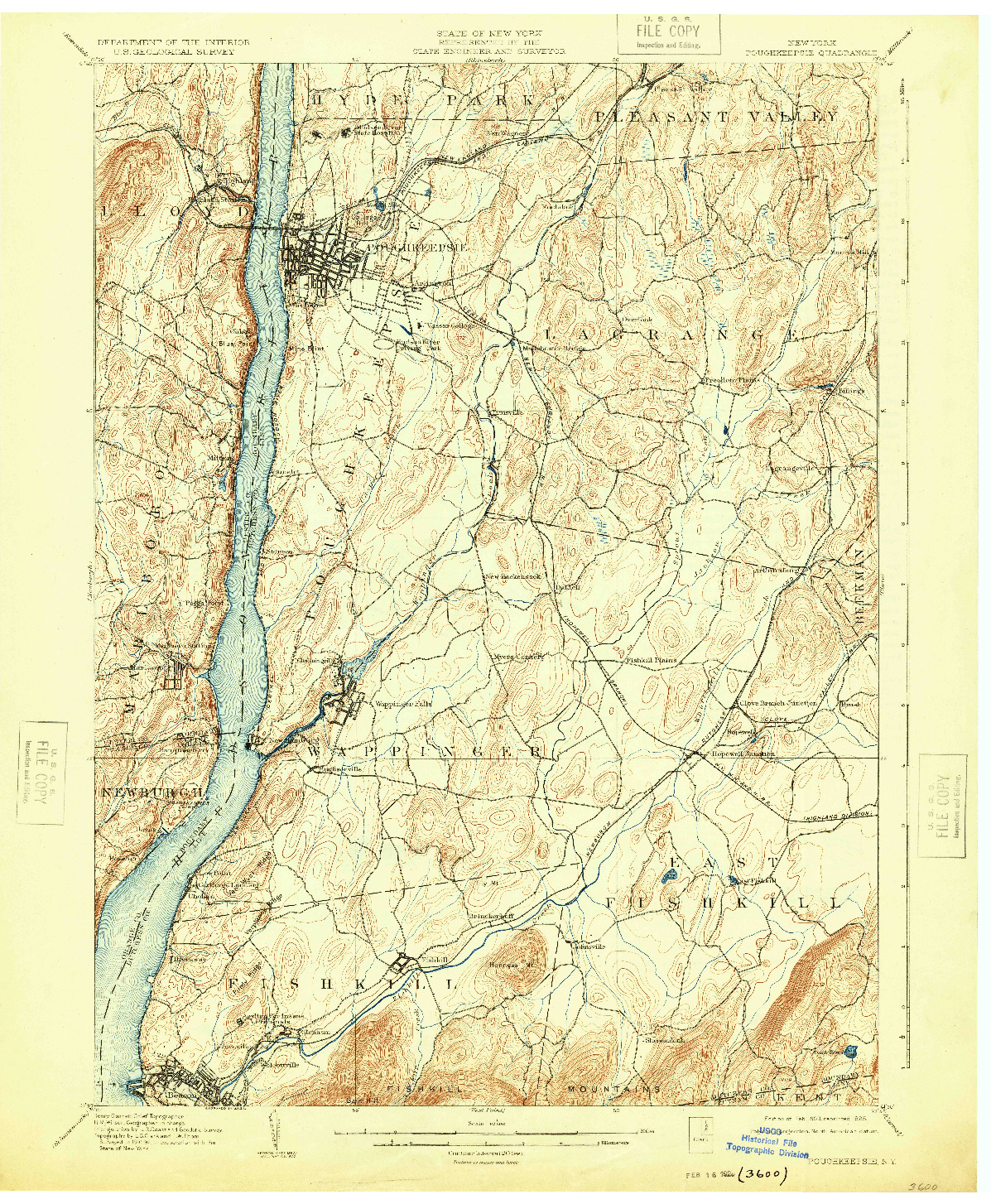 USGS 1:62500-SCALE QUADRANGLE FOR POUGHKEEPSIE, NY 1903