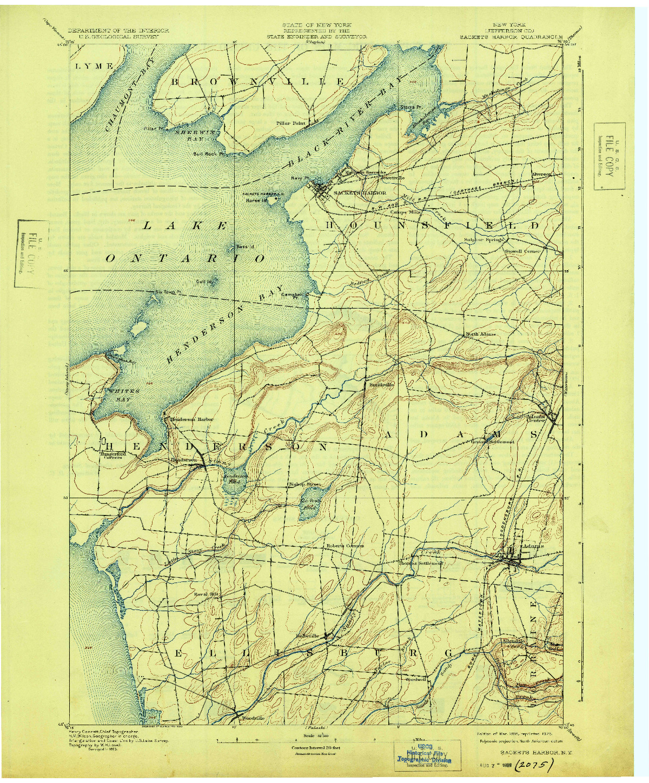 USGS 1:62500-SCALE QUADRANGLE FOR SACKETS HARBOR, NY 1895