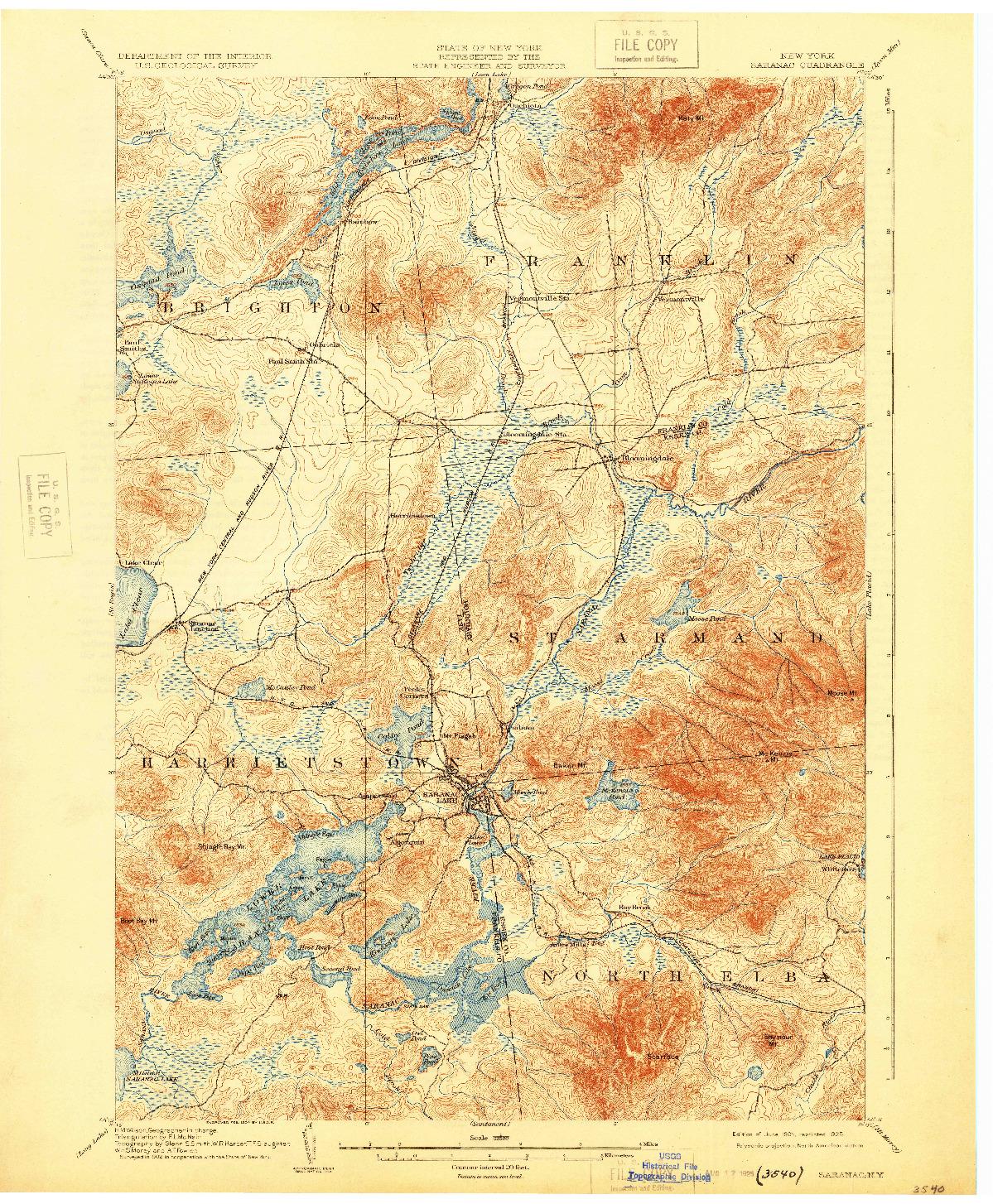 USGS 1:62500-SCALE QUADRANGLE FOR SARANAC, NY 1904