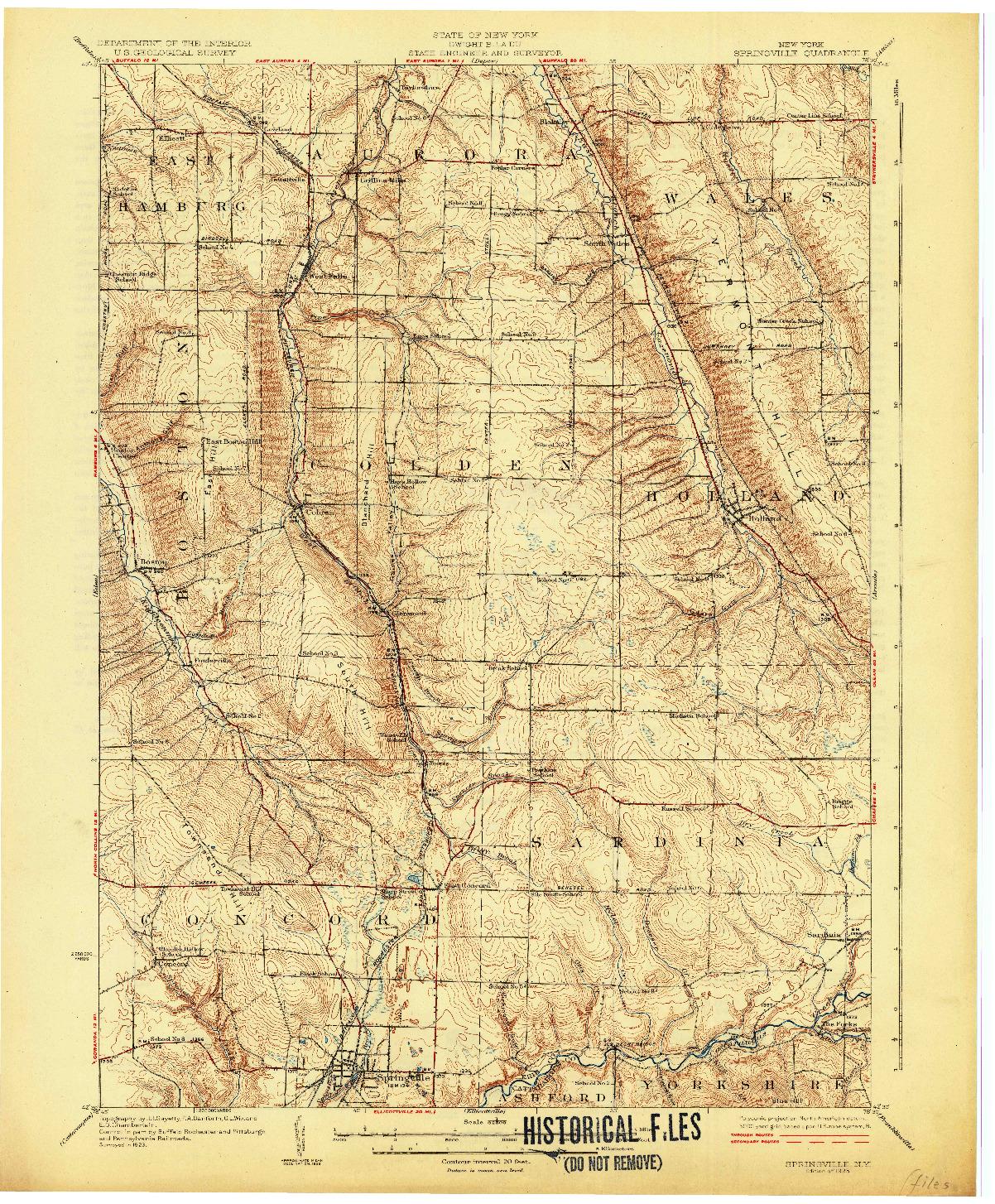 USGS 1:62500-SCALE QUADRANGLE FOR SPRINGVILLE, NY 1925