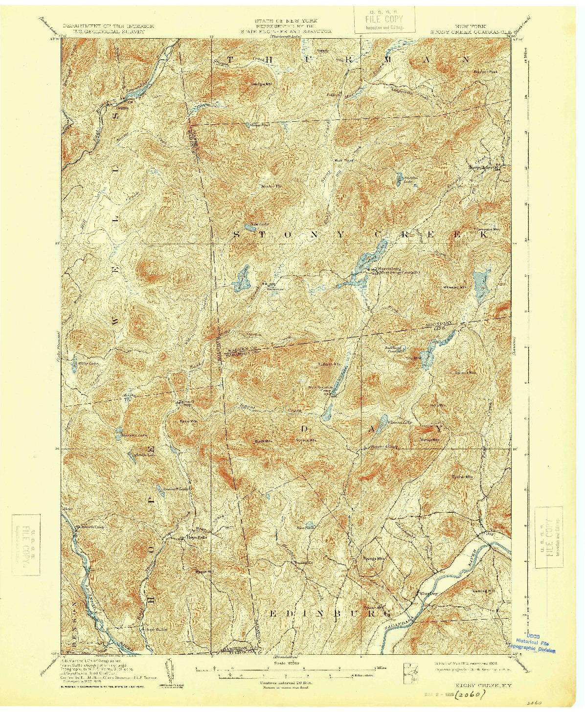 USGS 1:62500-SCALE QUADRANGLE FOR STONY CREEK, NY 1910