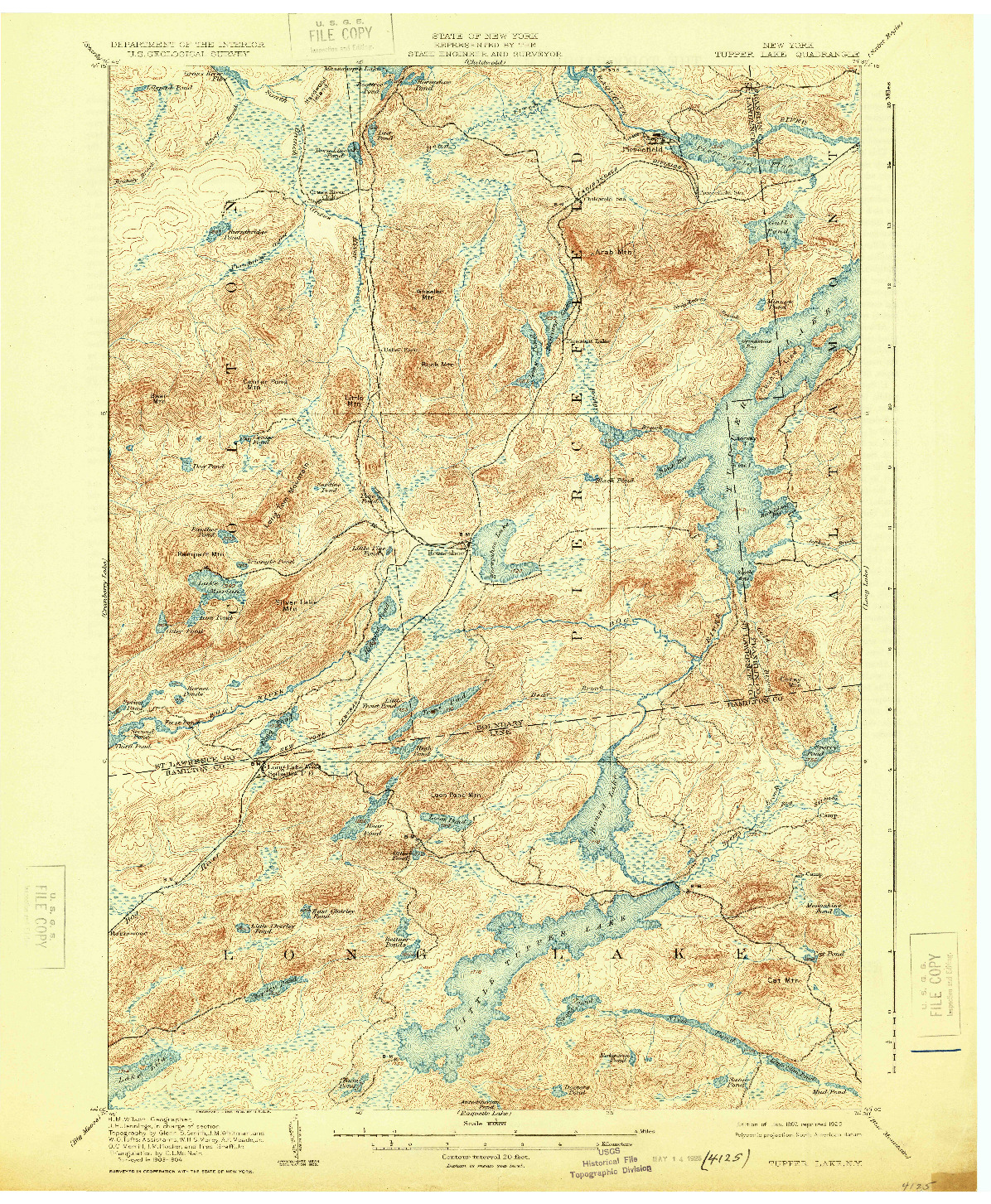 USGS 1:62500-SCALE QUADRANGLE FOR TUPPER LAKE, NY 1907