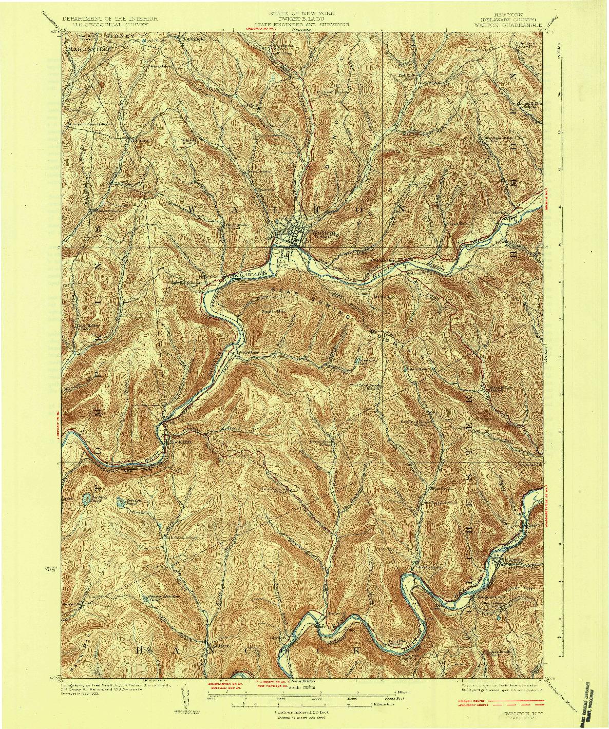 USGS 1:62500-SCALE QUADRANGLE FOR WALTON, NY 1925